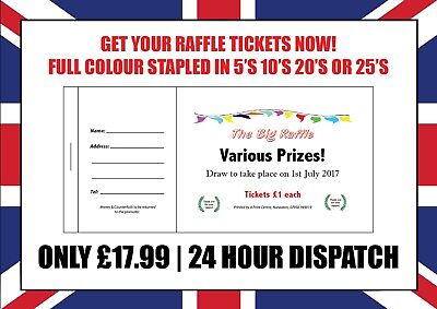 1000 printed personalised raffle prize draw tickets 16 50