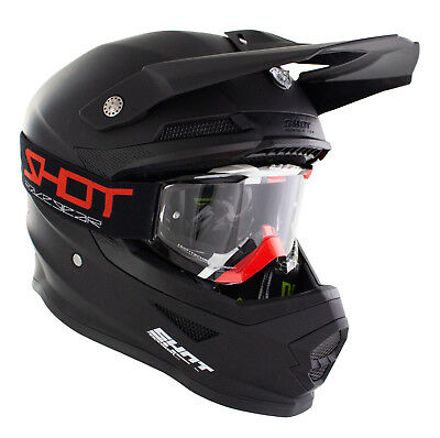 New 2018 Shot Matt Black Motocross Mx Off Road Crash Helmet + Black/red Goggles