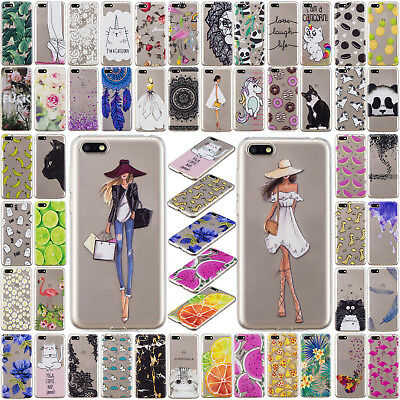 Chic Printed Pattern Clear Soft TPU Case Cover For Huawei Y7  Y5 Y6 Honor 7A Pro