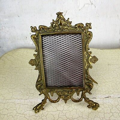 Rococo Vintage French Standing  Brass Embossed Oval  picture frame Ornate 9.44""