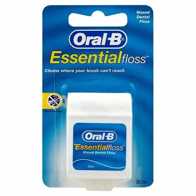 Oral B Essential Original Waxed Dental Floss (50m per pack) (Pack of 2)
