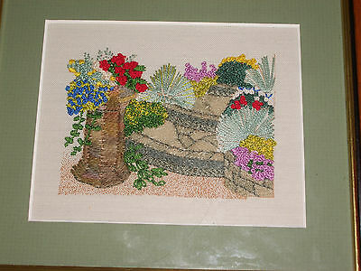 Embroidered garden floral scene - small framed picture