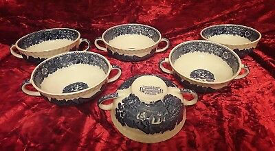 6 anciennes grandes tasses a oreilles staffordshire english scenic Adams England