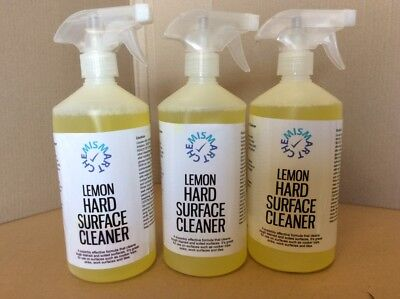 3 x Lemon Hard Surface Cleaner 750ml Joblot Job Lot Kitchen ChemiSmart