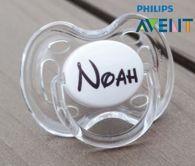 PHILIPS AVENT PERSONALISED DUMMY, SOOTHER, PACIFIER, 0-6mths, CARTOON FONT 2