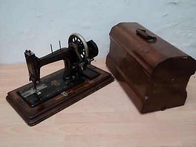 Werthem Superba Antique Hand Crank Sewing Machine, with cover and Key, working o