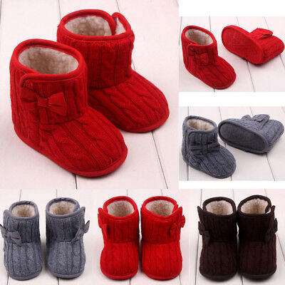 Newborn Baby Girls Woolen Shoes Snow Boots Soft Winter Warm Bowknot Sole Boots