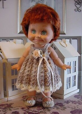 """Crochet Light Brown Dress for 13"""" Galoob Baby Face Dolls - By DollDarlings"""