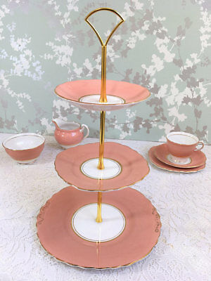 Salmon Pink 3 Tier Cake Stand, Colclough China