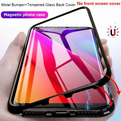 For Samsung Galaxy S8 S9 Plus Note 8 Magnetic Absorption Temper Glass Case Cover