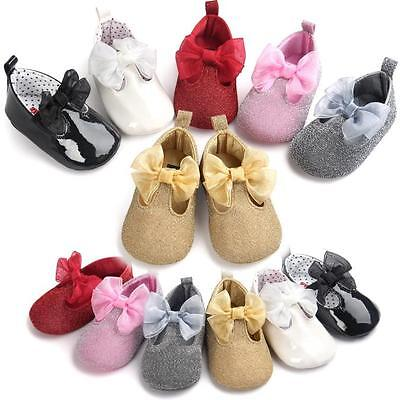 Newborn Infant Baby Girl Bowknot Shoes Sneaker Anti-slip Soft Sole Prewalker HK
