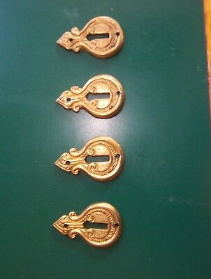 lot of 4 antique heavy brass key hole covers