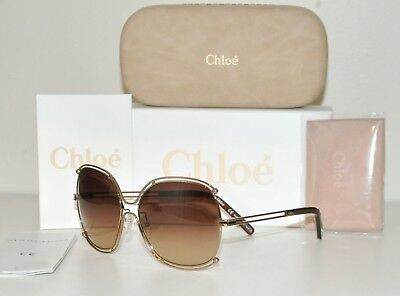 7bb77c094c34 CHLOE Isidora CE 129S 784 Sunglasses Rose Gold Brown NEW On SALE 57% OFF