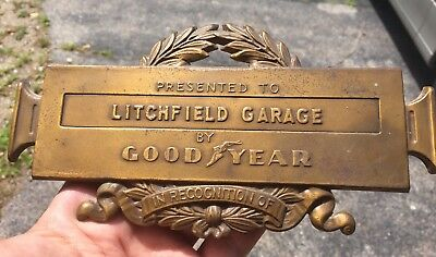 Antique Vintage Goodyear Brass Plaque Sign Gas Station