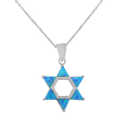 Sterling Silver Jewish Star of David Blue Turquoise Fire Opal Pendant Necklace