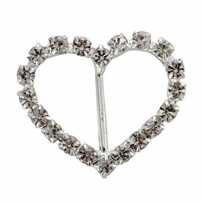 SODIAL(R) 10 X Coeur d'amour Mariage ruban Boucle Glissiere 25x21mm HOT V6S5