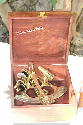 Nautical Shiny Brass Working Sextant With Wooden Box Marine Ships Sextant Gift.