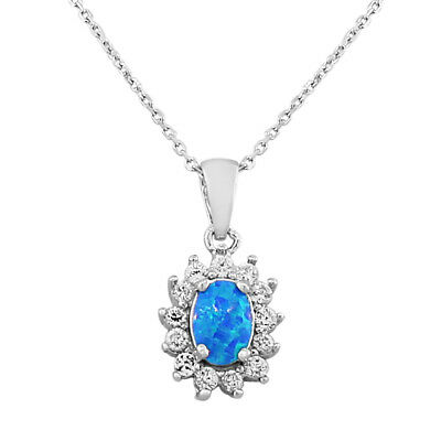 Sterling Silver Oval Crystals CZ Blue Turquoise Fire Opal Pendant Necklace
