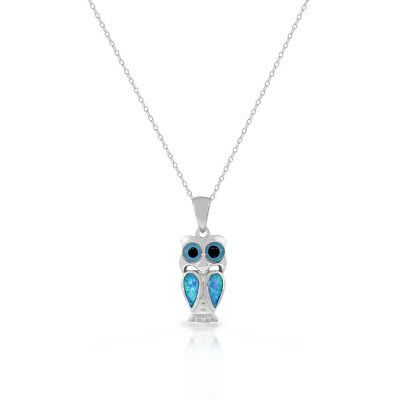925 Sterling Silver Blue Turquoise-Tone Simulated Opal Owl Pendant Necklace