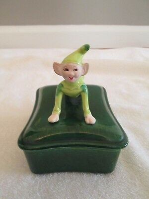 Vintage Pixie Elf Lidded Candy Dish / Trinket Box-By Treasure Craft-*reduced*
