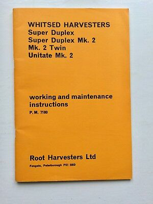 Whitsed Root Harvesters Super Duplex Mk2 Twin Unitate Working Instructions