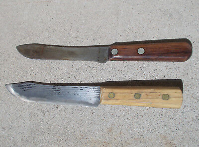 Lot of Two Antique or Vintage Carbon Steel Kitchen Butcher Skinning Chefs Knives