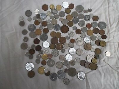 Job Lot Of 100+ Vintage Mixed World Coins Foreign Coins
