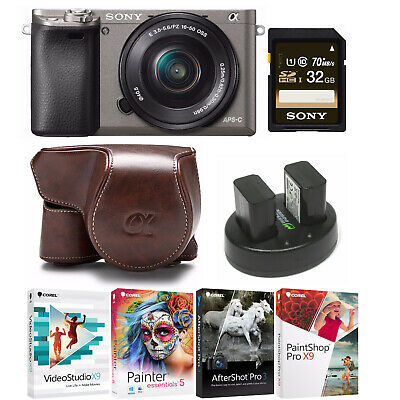 Sony Alpha a6000 Mirrorless Camera (Graphite) with KOAH PU Leather Case Kit