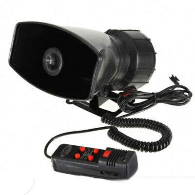 12V Loud Horn Siren 5 Sounds Tone PA System 60W for Car Auto Van Truck