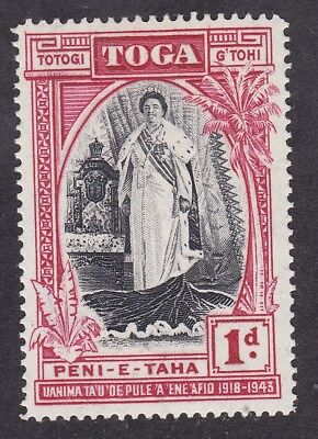 Tonga Toga 1944 Queen Salote - 1d Black and Carmine - SG83 - Mint Hinged (B7F)