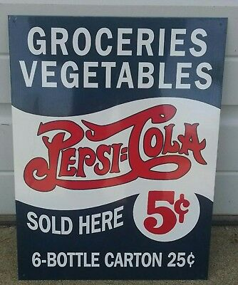 Pepsi Cola 5¢ 6 bottle carton 25¢ advertising Vintage metal sign