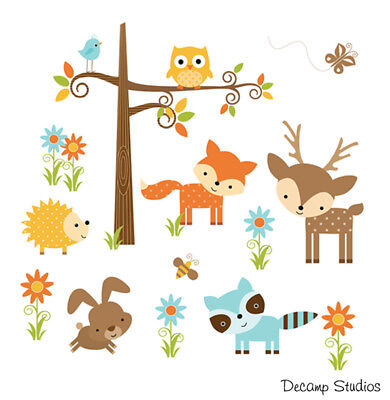 Woodland Baby Nursery Decor Forest Friends Animals Wall Art Decal Mural Stickers