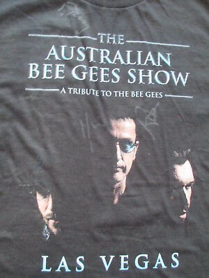 The Australian Bee Gees Show Las Vegas Black SIGNED T Shirt Size M Medium
