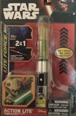 Disney~Star Wars~The Force Awakens~Action Lite 2-in-1 Mini Light Saber~Yoda~NIP!