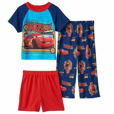 Disney / Pixar Cars Toddler Boys Mcqueen Pajama Top, Shorts & Pants Set Size 4T