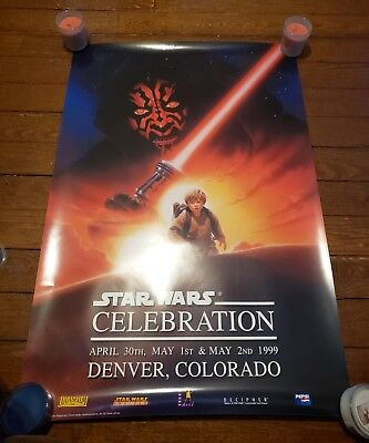 Star Wars Celebration Print Poster 1999 Denver Colorado Darth Maul Anakin RARE