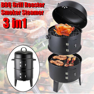 Black Garden 3 in 1 BBQ Charcoal Grill Barbecue Smoker &Hangers Outdoor Cooker G