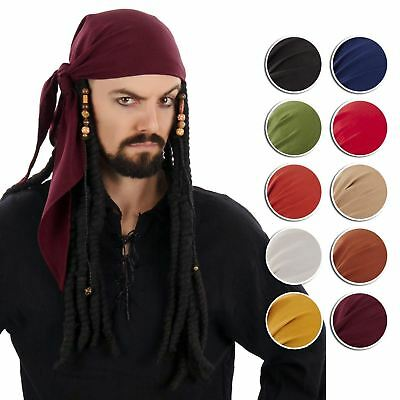 Adult Pirate Sparrow Medieval Caribbean Bandana Head Scarf Costume Accessory Men