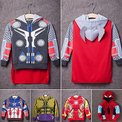 Kids Boys Halloween Party Superhero Cosplay Costumes Hooded Jacket Coat Hoodies