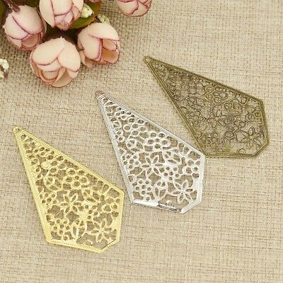 Metal Filigree Flowers Slice Hollow Out Jewelry Accessories Charms Gold Silver