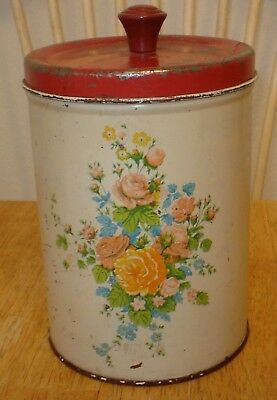 Vintage National Can Floral Carnations Tin / Metal Kitchen Canister w/ Red Lid