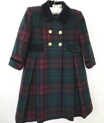 Beautiful Children's Vintage Pure Wool Tartan/Plaid Girls Traditional Coat