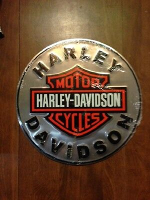 "L@@K! Harley Davidson 12"" Embossed Round Button Tin Sign NEW"