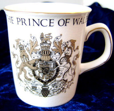 """1969 Prince of Wales Investiture Mug / Crown Ducal Porcelain England 3 1/2"""" tall"""