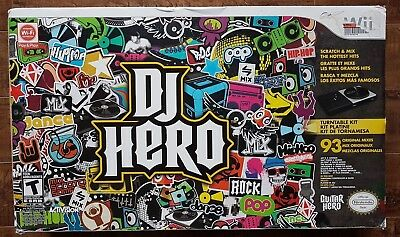 NINTENDO Wii DJ Hero Boxed LOT: WIRELESS Turntable Controller + Game + Manuals