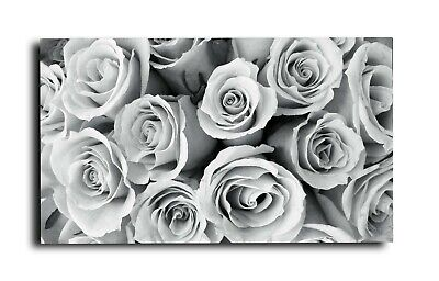 "Large Rose Black White Grey Canvas Wall Art Picture  18"" X 32"" Inch (Framed)"