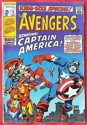AVENGERS 3 KING SIZE SPECIAL Marvel Silver Age 1969 Captain America Joins
