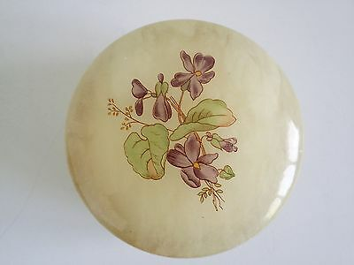 Genuine Alabaster Trinket Jewelry Storage Box Floral Hand Carved Made in Italy