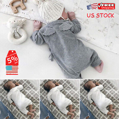 US Newborn Baby Boys Girls Romper Bodysuit Jumpsuit Angel Wings Outfits Clothes