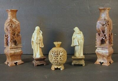 Lot of 5 Pieces Old Chinese Carved Soapstone